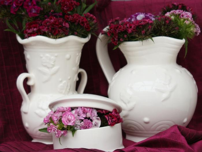 Royal Creamware Art Deco decorative display of the Falcon Vase, Condor Jug and Trinket Box.