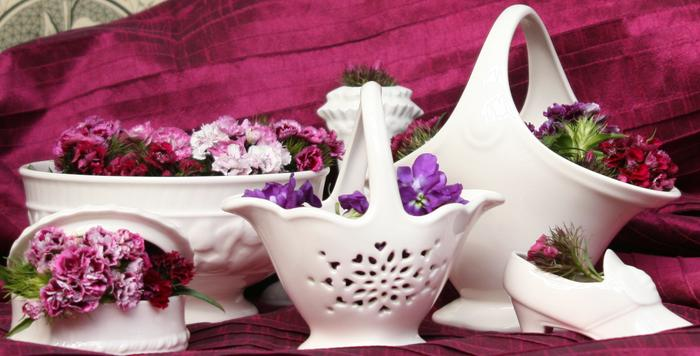 A selection of Occasions items including the Rowsley Basket, Pin Box, Flower Basket and Victorian Slipper